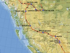 British Columbia med indtegnet rute juni 2014