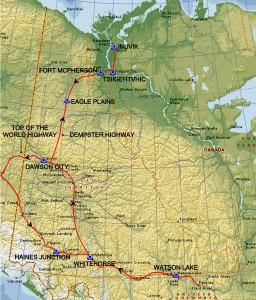 Yukon territoriet med indtegnet rute 2014