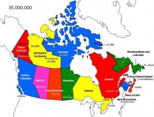 Canadiske provinser og territorier. Indbyggertal og hovedstad for territorierne er angivet. Canada har ialt 35 mio. indbyggere (2014)