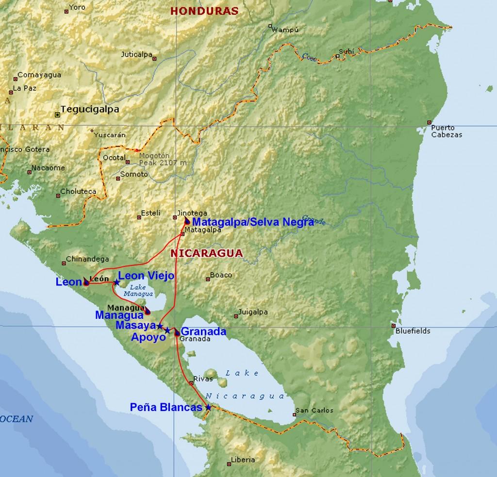 Kort over nicaragua