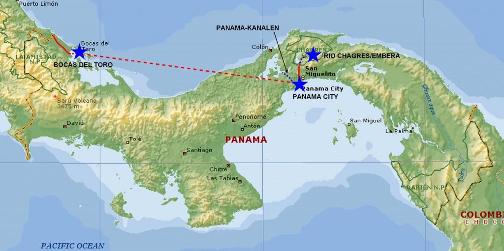 Kort over Panamá