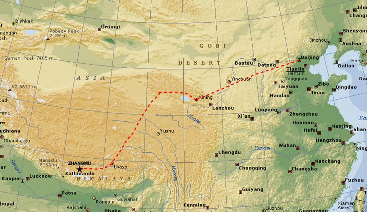 Fly- og togturen Beijing-Xining-Lhasa