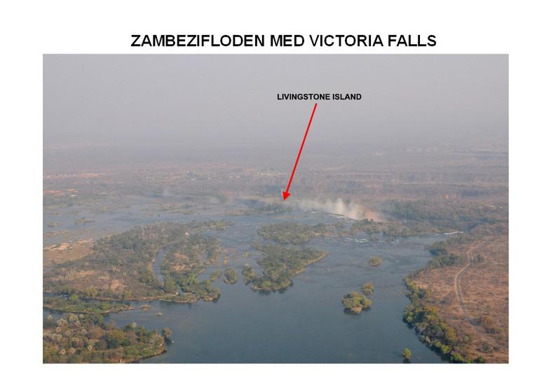 Zambezifloden med Livingstone Island, hvorfra Livingstone så vandfaldene