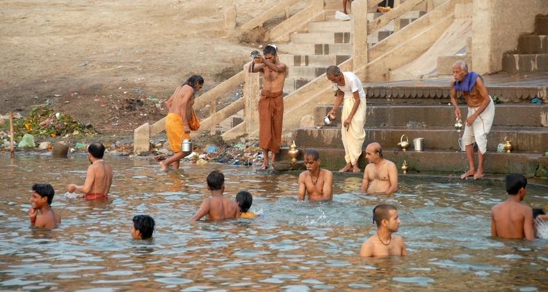 Morgenbadning, Ganges, Varanasi