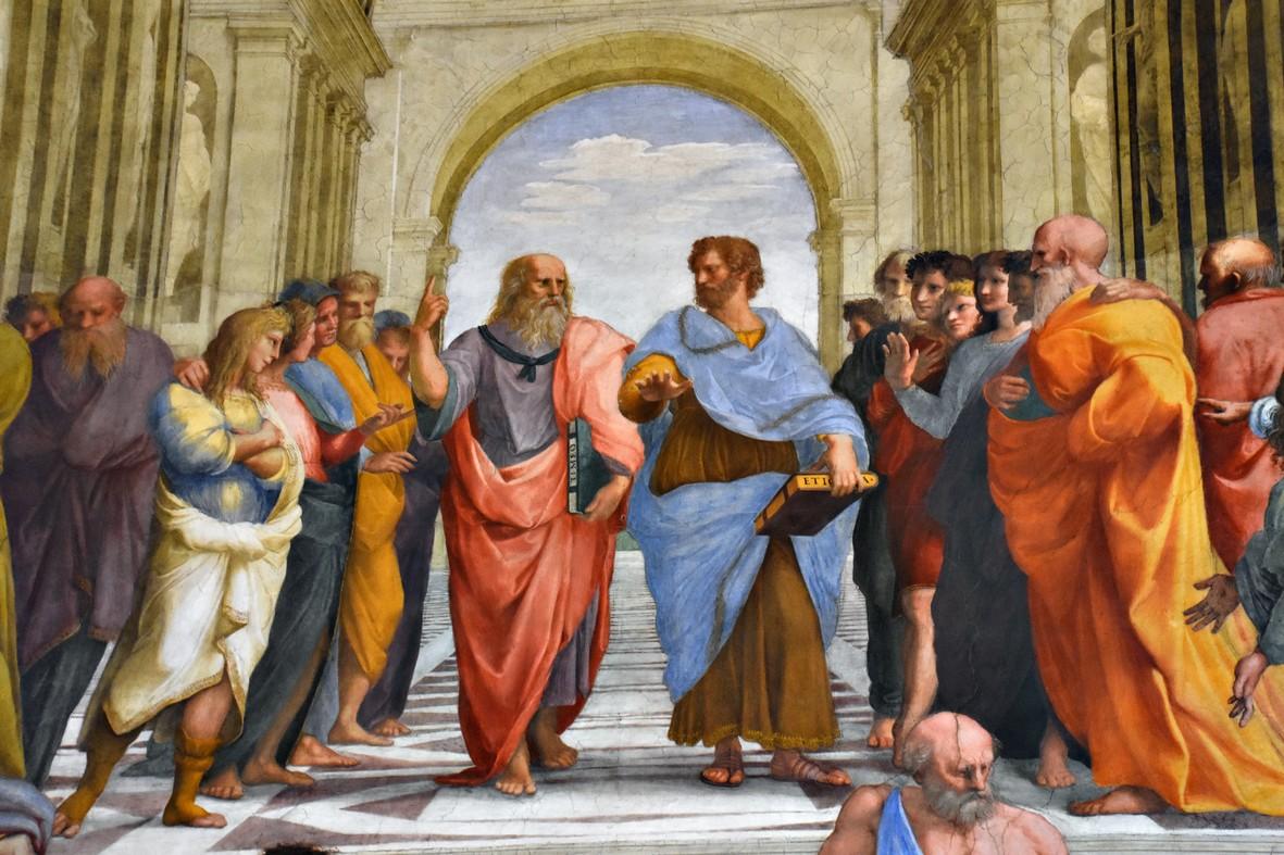 Rafaels Skolen i Athen, Vatikan-museet. Centralt i billedet ses Platon og Aristoteles