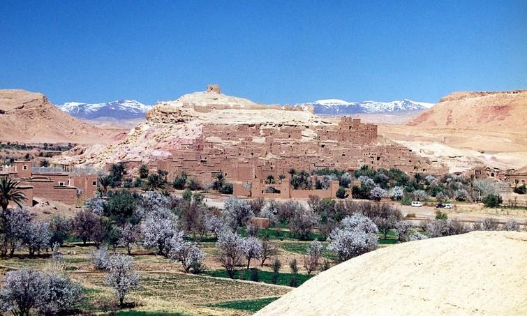 Berberlandsby i Atlasbjergene. Mandeltræerne blomstrer