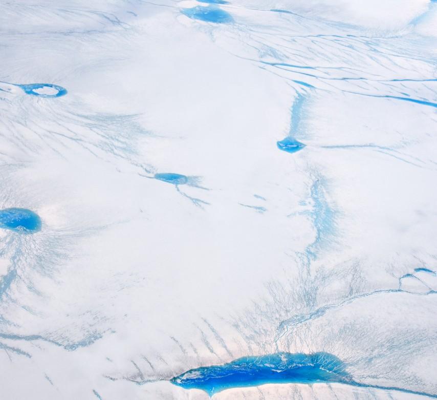 Smeltevandssøer på indlandsisen 25. juni 2016